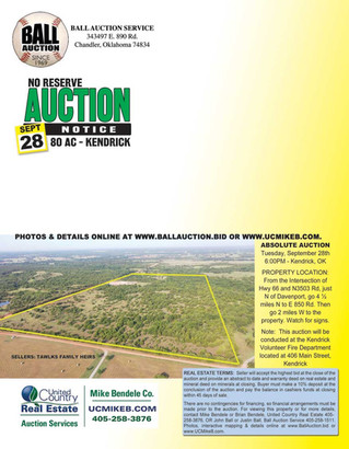 REAL ESTATE AUCTION: 80 ac of Land and 80 ac of minerals offered individually and in combination