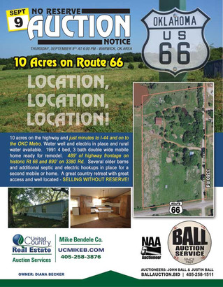 NO RESERVE REAL ESTATE AUCTION: 10 Acres on Rt. 66