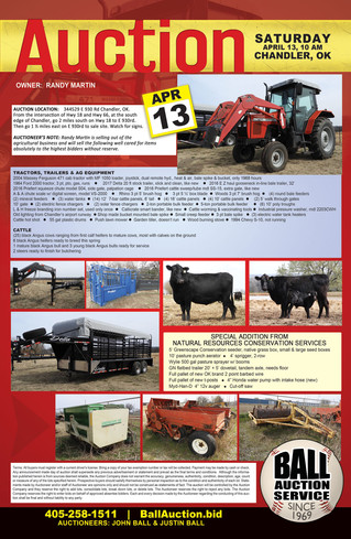 AUCTION: Tractors, Trailers, Ag Equip, Cattle