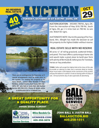 NO RESERVE AUCTION: 40 Acres in Central Oklahoma