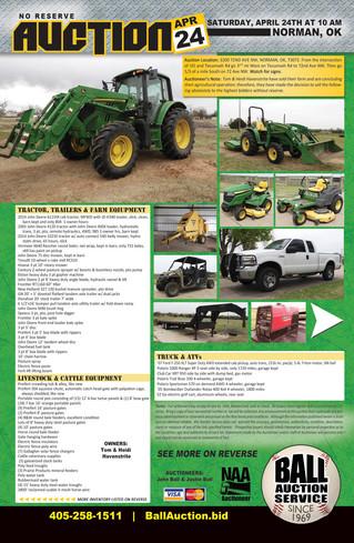 AUCTION: Tractors, ATVs, Farm Equip, Preifert Setup