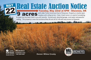 REAL ESTATE AUCTION: 9ac East of Shawnee, OK