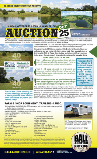 No Reserve Auction: 80 Acres and Farm Equipment