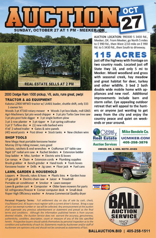 NO RESERVE AUCTION: 115 Acres in Central Oklahoma