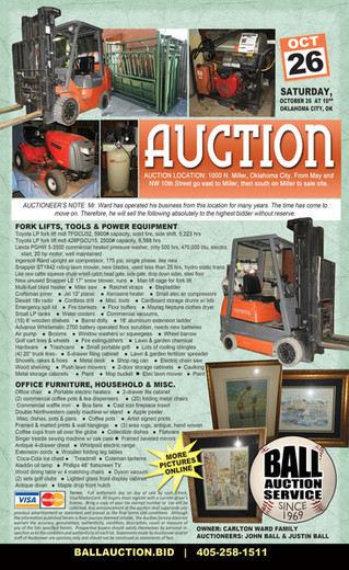 AUCTION: Forklifts, Tools, Power Equip