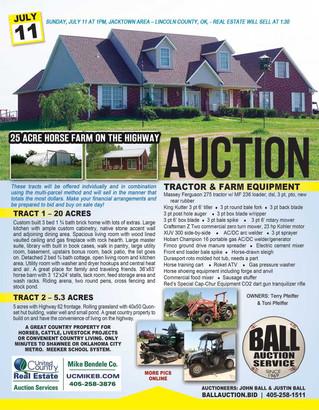 NO RESERVE LAND AUCTION: 25 ACRES Horse Farm, Equipment, More