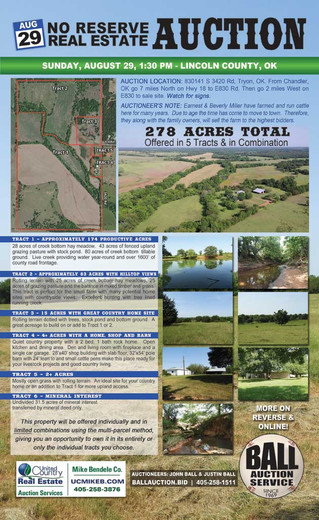 NO RESERVE REAL ESTATE AUCTION: 278 Acres TotalOffered in 5 Tracts & in Limited Combination