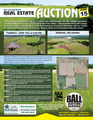 NO RESERVE LAND AUCTION: 158 total acres offered in up to 7 tracts and combinations