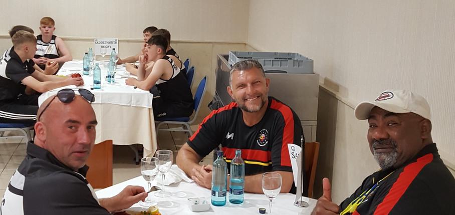 Head Coach Andy - Barries McDermott and Big Tony enjoying breakfast at Hotel Torrevieja