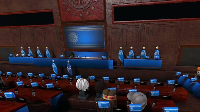 A screenshot of LBP3 featuring a large parliament floor.