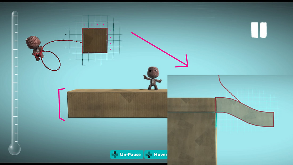 A screenshot of LBP3 showing the best size block to use to draw paths.