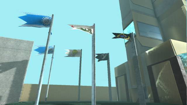 A screenshot of LBP3 featuring a set of six flags outside a tall building.