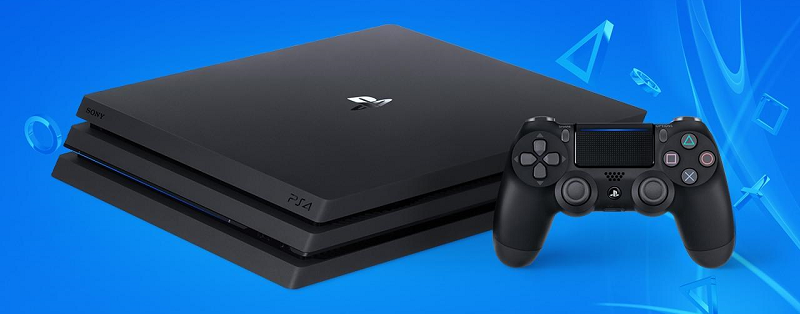A Playstation 4 console and Dualshock 4 controller