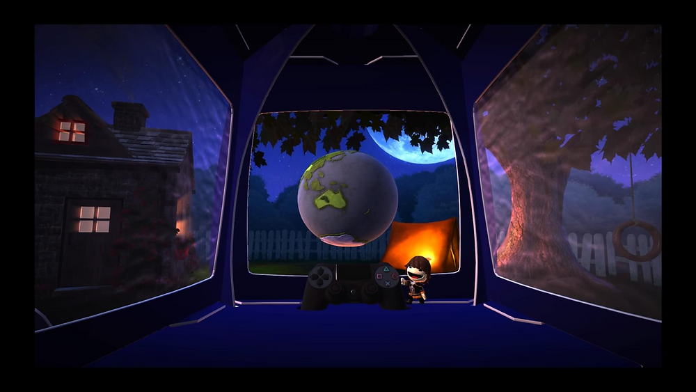A screenshot of a blue LittleBigPlanet pod.