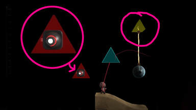 A screenshot of LBP3 demonstrating how to use triangles for floating logic