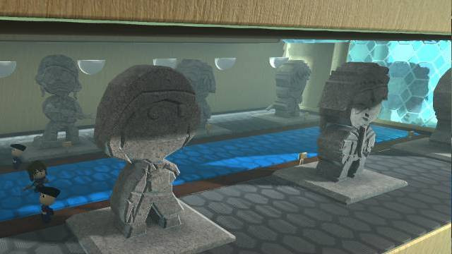 An LBP3 screenshot with a set of six statues of former Union leaders.
