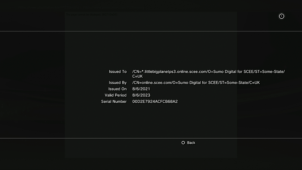 A screenshot of the new security certificate for LittleBigPlanet.