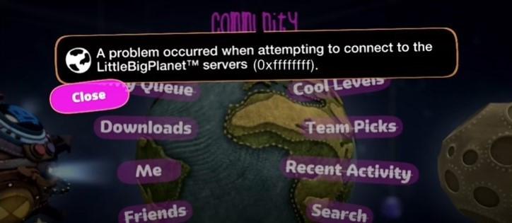 Littlebigplanet error code 0xffffffff on LBP Vita