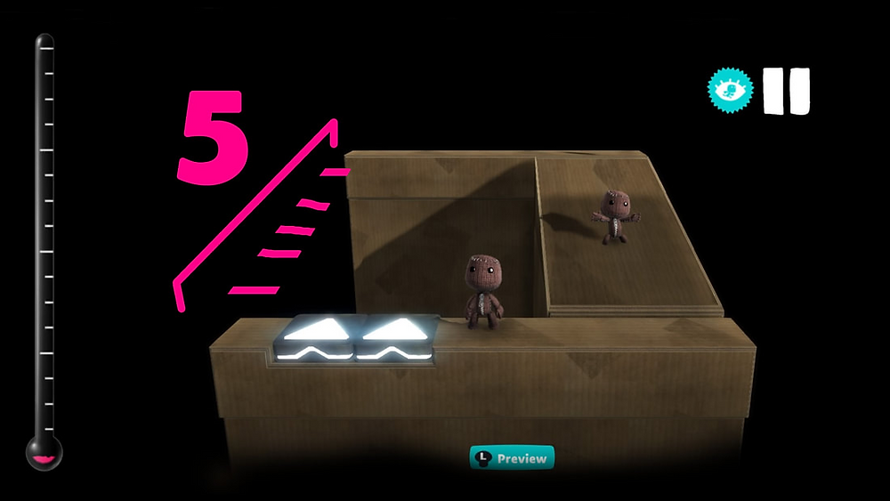 A screenshot of LBP3 showing how many layers you should have between the layer launcher and the destination.