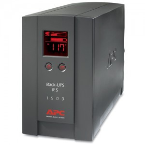 A battery backup. This one is a big, gray, rectangular box with a display on the front to show electrical information.