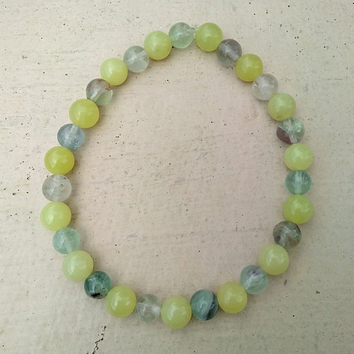 Lemon Jade and Fluorite Bracelet