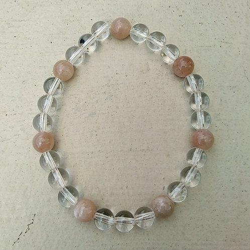 Clear Quartz and Sunstone Bracelet