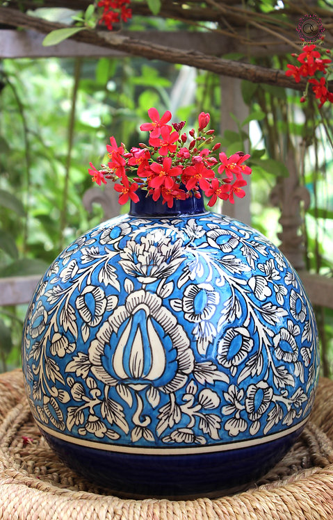 Ornate Culture Blue and White round vase