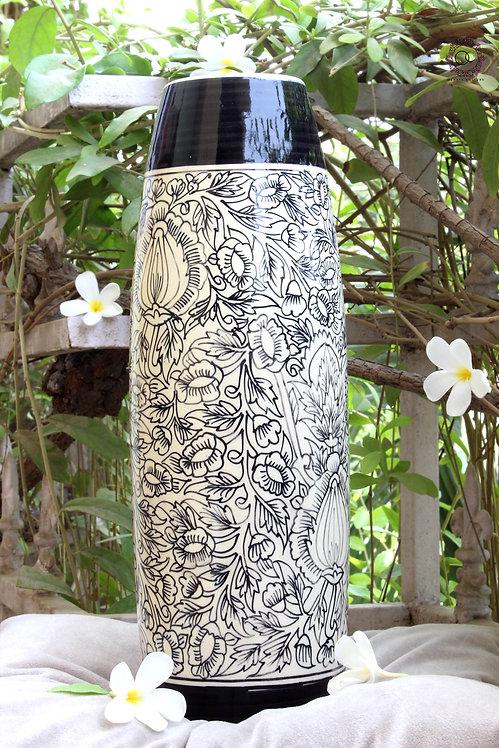 Ornate Culture Black&White Flora Vase (Long)