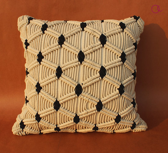 Blue Diamond Weave Macrame Cushion