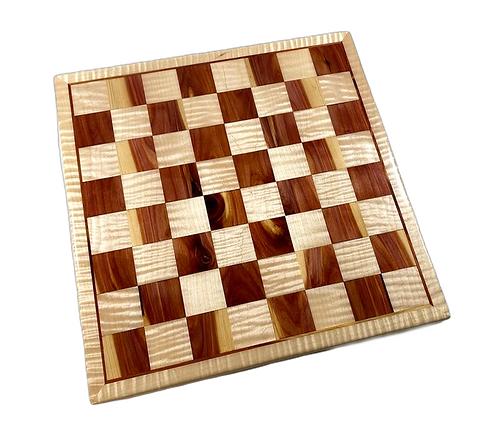 Red Cedar/Curly Maple Chess Board