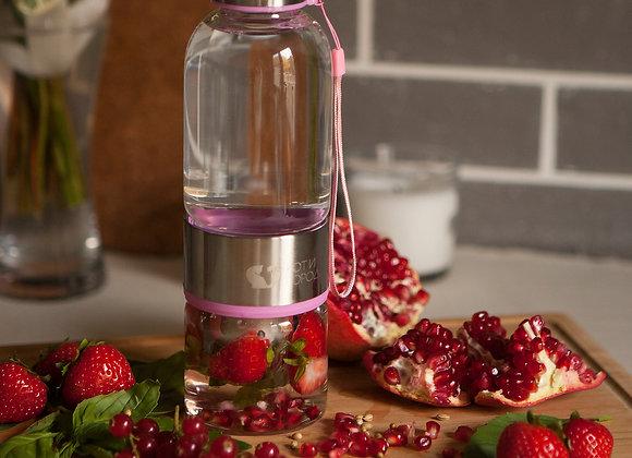 Стеклянная Бутылочка для воды. Розовая