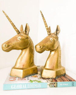 Brass Unicorn Bookends