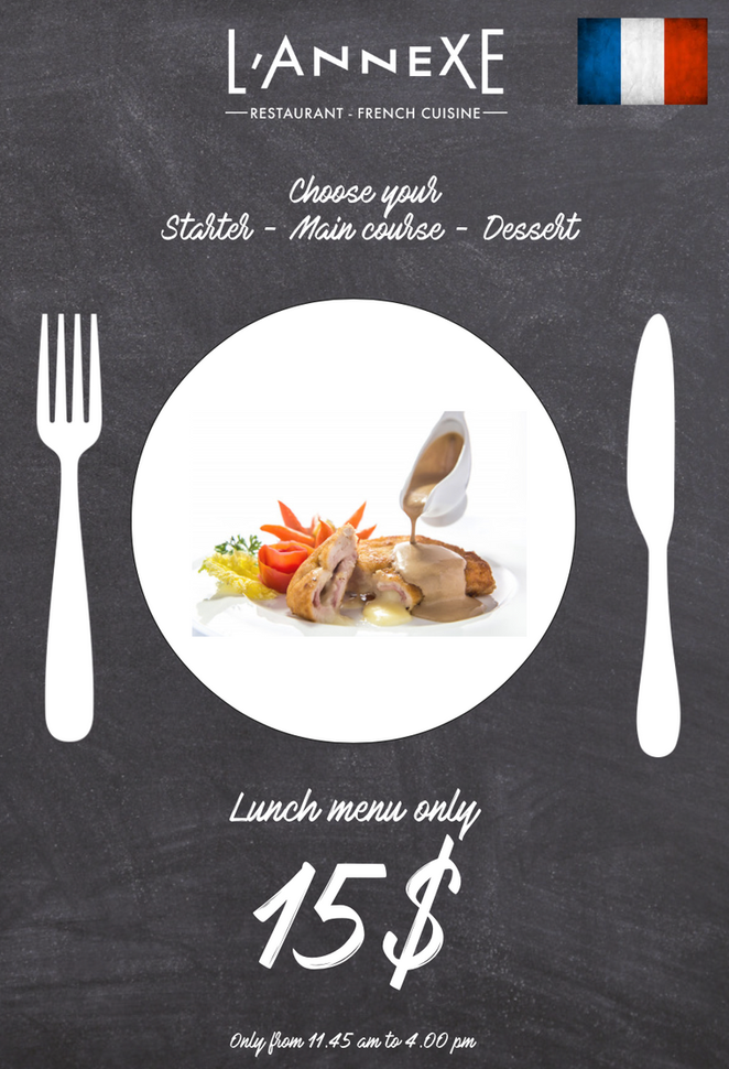 Siem Reap - Cambodia                 French Lunch menu for 15 dollars only