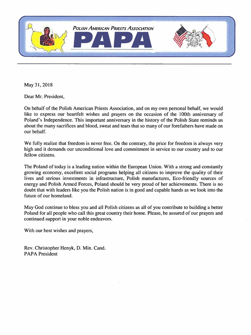 PAPA letter in English from President Henyk