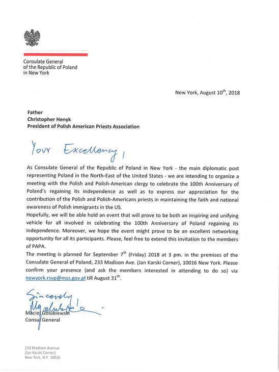 Invitation to Consulate in New York City