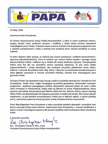 PAPA letter in Polish from President Henyk