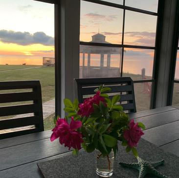 Enjoy dining and sunsets in comfort