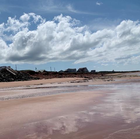 Quiet sandy beach in front of Ocean Ridge Beach House