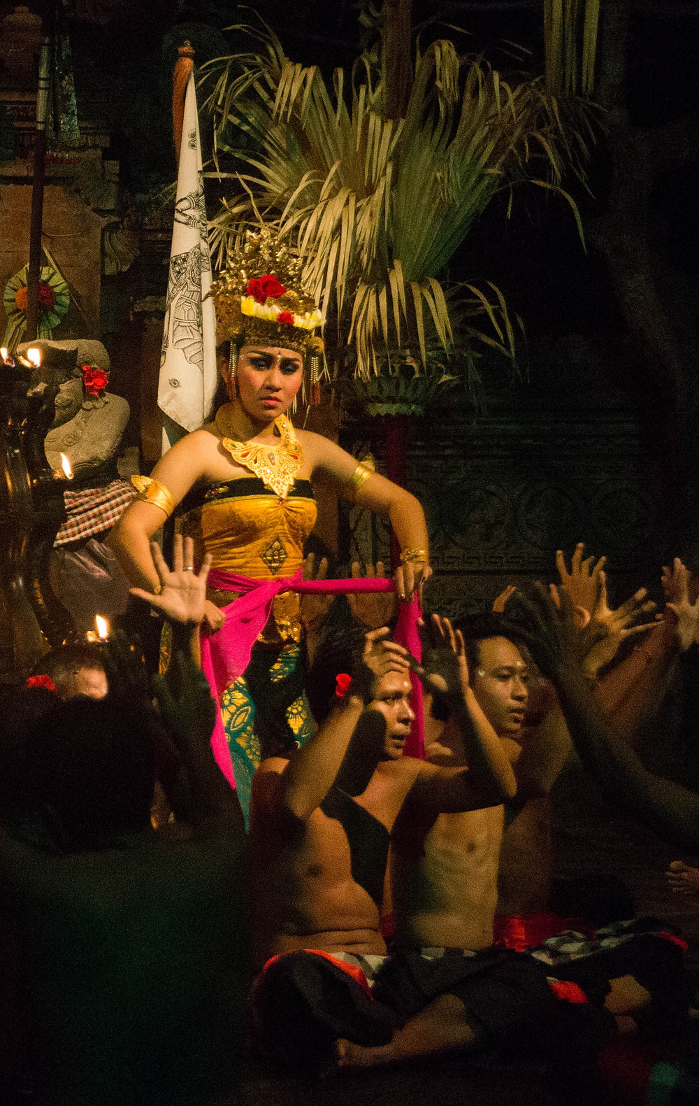 A woman plays one of the gentler roles in Ramayana. The Kecak dance was joined with the telling of Ramayana in 1930s when a German artist adapted it into a drama.