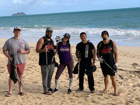 UCE Wrestling Cleans Up Waimanalo Beach