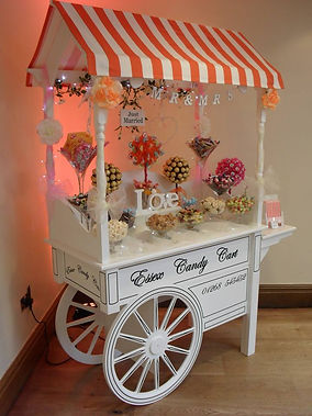 sweet cart with sweet trees and sweets