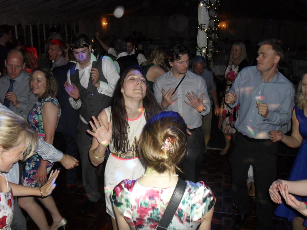 Wedding guests at disco