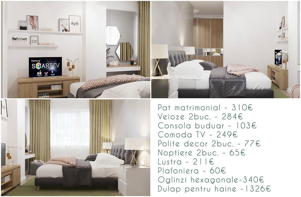 Preț design interior dormitor