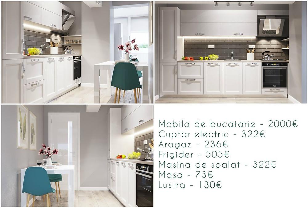 Preț design interior bucătărie