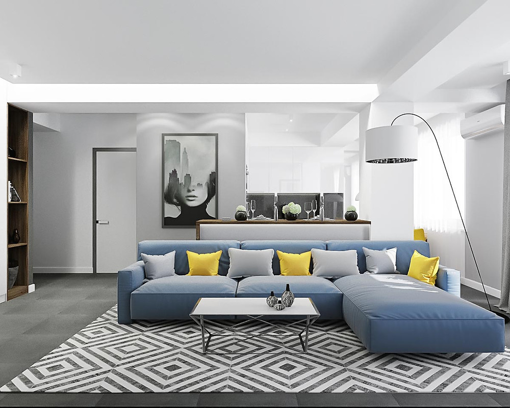 Imbinații de culori în designul interior, alb, gri, accente de albastru și galben