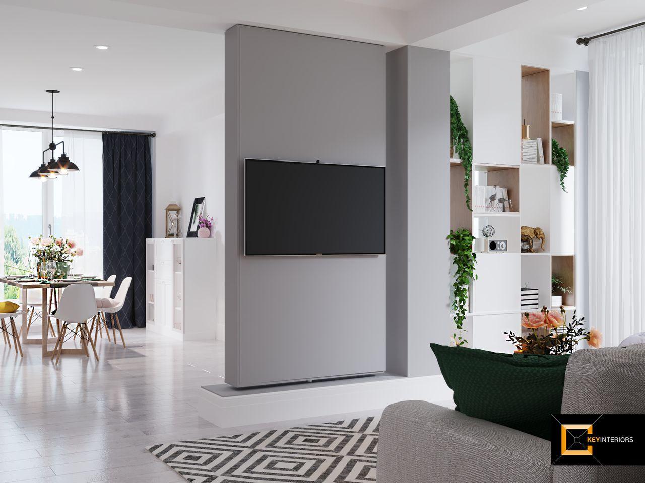 Design interior, perete TV mobil