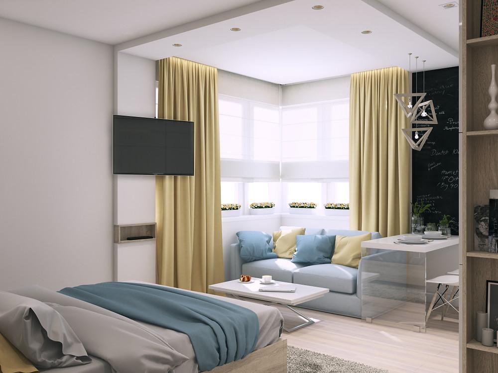 Culorile în designul interior, galben, crem, albastru