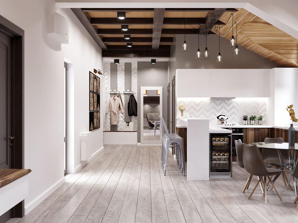 Tavan cu grinzi și lambriuri de lemn