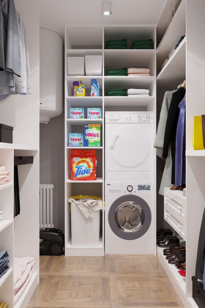 Mașina de spălat rufe în debara