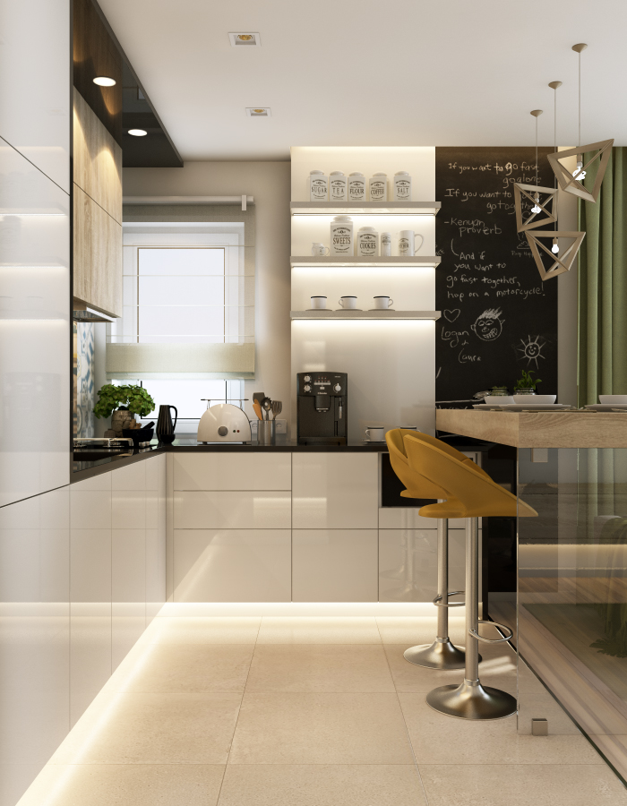 Mobila de bucătărie și fereastra